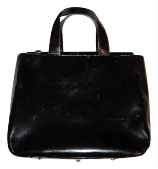 Gucci Large Embossed Gg Dressy Or Casual Excellent Vintage Two Way Style Soho/Blondie Look Satchel in black patent leather Image 11