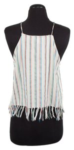 Miguelina Striped Cotton Halter Cream Halter Top