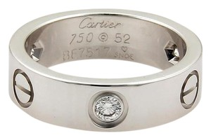 Cartier Cartier Love 3 Diamond 18k White Gold 5.5mm Band Ring Size EU 52-US 6