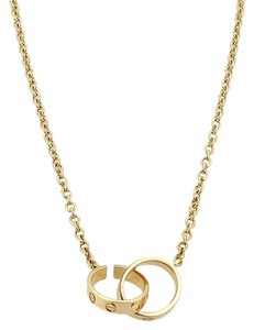 Cartier Cartier Love 18k Yellow Gold Mini 2 Ring Clasp Pendant Chain Necklace