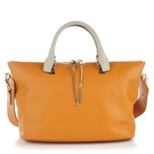 Chloé Baylee Cross Body New Large Satchel in Brown Yellow