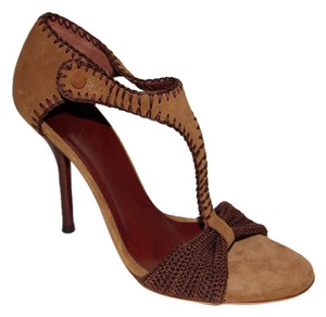 Gucci brown crocheted high heel Sandals