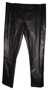 Worthington Faux Leather Wet Look Leg Classic Waist Goth Straight Pants Black