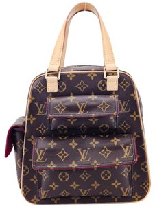 Louis Vuitton Flap Pockets Canvas Leather Top Handles Satchel in Brown and Tan