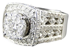 Other 14K White Gold Xl Solitaire Diamond Bridal Engagement Ring Set 3.25 Ct