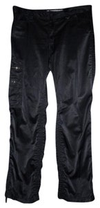 Express Satin Ruched Pockets Sexy Cargo Pants Black