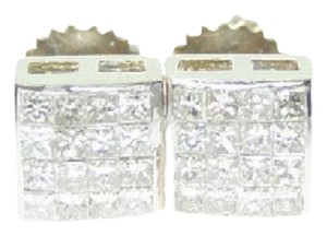 Other 55 Ct Yellow Gold Princess Cut Invisible Set Diamond Stud Earrings