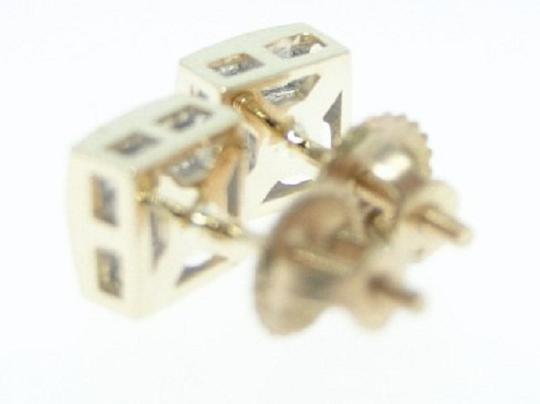 Other .55 Ct Yellow Gold Princess Cut Invisible Set Diamond Stud Earrings Image 1