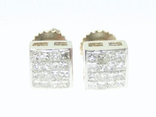 Other .55 Ct Yellow Gold Princess Cut Invisible Set Diamond Stud Earrings Image 3