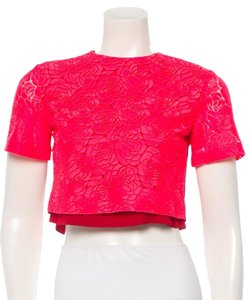 A.L.C. Bright Floral Crop Cocktail Top Pink and red