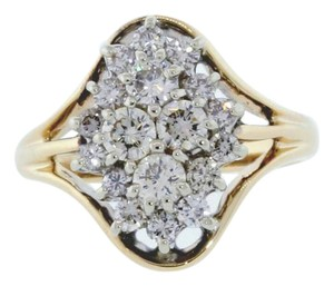 Other 14k gold 4/5 carats diamond oval shaped cluster ring