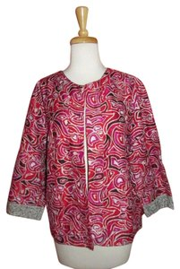 Chico's Silk Metallic Abstract Size 3 red Jacket