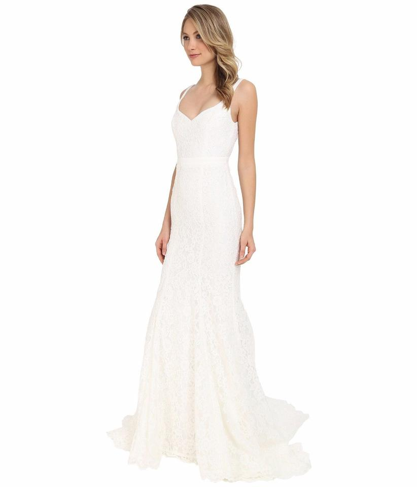 Nicole miller janey lace gown ivory women 39 s sleeveless for Nicole wedding dress prices