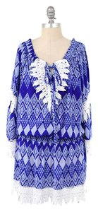 T-Bags Los Angeles short dress Blue Tribal Print Crochet Lace Trim Blouson Mini on Tradesy