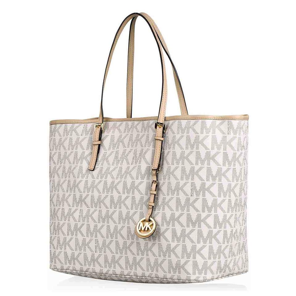 855d90259c0b3 Michael Kors Jet Set Travel Md Mk Logo X-large New with Tags Monogram  Vanilla/Gold Hardware Pvc and Leather Tote