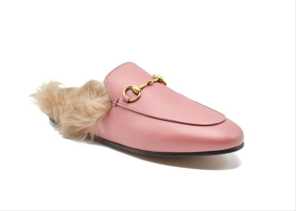 8a5790b9c Gucci Pink Princetown Fur-lined Backless Leather Loafers Slip Ons ...