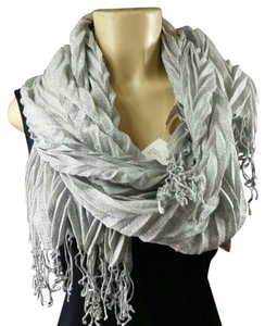 """Collection Eighteen Collection Xiix Women's Scarf Shawl/wrap, color metalic grey, 68"""" Length, made of polyester and acrylic blend, $36.00 store retail price value, comes new with tag as closeout item in good cosmetic condition."""
