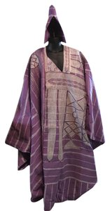 Housa Yoruba 4-Piece Grand Boubou Riga Royal Robes; Amethyst & Silver; Men's One Size [ SisterSoul Closet ]