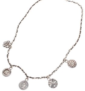 Chanel Silver-Tone & Leather CC Multi-Charm Necklace
