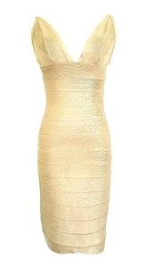 Hervé Leger Metallic Gold Bandage Foil Dress