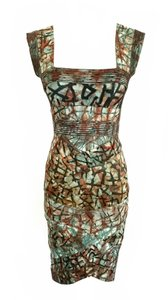 Hervé Leger Bandage Graffiti Print Art Print Cocktail Dress