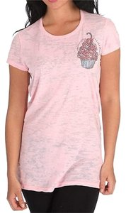 e.vil Womens Burn Out T Shirt Embellished Cup Cake Top Pink
