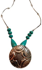 Other New Turquoise Stone Bib Necklace Silver Tone Pendant J3164