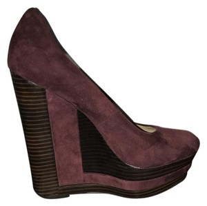 Rachel Zoe wine and brown Wedges