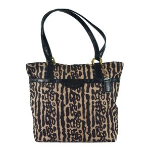 Coach Animal Print Canvas Ocelot Patent Leather Leopard Tote in Black