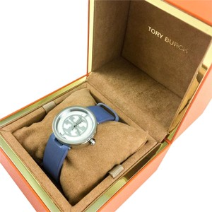 Tory Burch Reva Watch TRB4006, Blue Leather/Silver-Tone 28MM