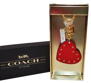 Coach Nwt Studded red Leather Key Chain Fob Boxed