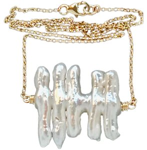 K Accessories The Pearl Fish Bone Necklace 14KT/20