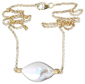 K Accessories Freshwater Pearl Drop Necklace 14KT/20