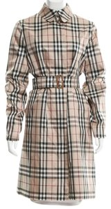 Burberry Nova Check Plaid Longsleeve Belted Monogram Trench Coat