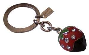 Coach Enameled PAVE Chocolate-Dipped Strawberry Key Keychain Charm Fob