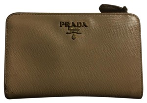 Prada Saffiano Metal Oro Travel Wallet