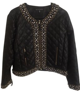 Saks Fifth Avenue Faux Leather Pearl Leather Jacket