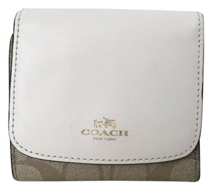 Coach Coach Signature canvas Leather Small Trifold Wallet F53837 New $135