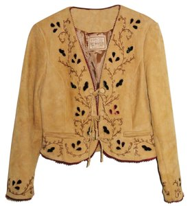 Double D Ranchwear Cowgirl Velvet Embroidered Beige Leather Jacket