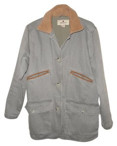 Woolrich Fleece Leather Sage Casual Canvas Green Jacket