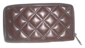 Marc Jacobs Brown Leather Zip Around Stam Wallet