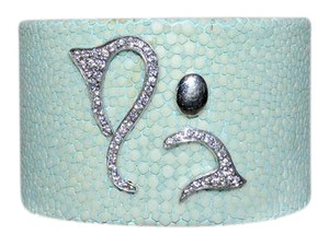 Angelique de Paris Angelique de Paris Stingray Cuff Bracelet Aqua Silver OM