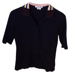 Lacoste Button Down Shirt navy with multi striped collar