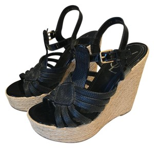 Saint Laurent Espadrille Summer Vacation Resort Black Wedges