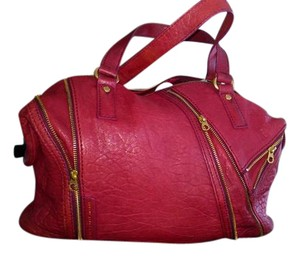 Marc by Marc Jacobs Leather Zippers Lambskin Tote in Raspberry Red