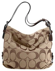 Coach Duffle Signature Brown Khaki Messenger Satchel in Khaki Mahogany