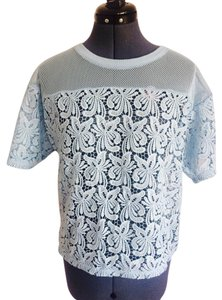 Ann Taylor LOFT Blue Lace Lp T Shirt Light Blue