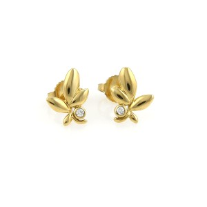 Tiffany & Co. Tiffany & Co. Picasso Diamond Olive Leaf 18k Yellow Gold Earrings