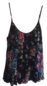 Express Top black with flower print