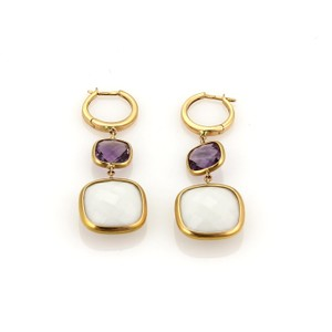 Modern Vintage White Agate & Amethyst Drop Dangle 18k Rose Gold Earrings